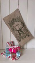 Personalized Reindeer Father Christmas Xmas Santa Sack / Stocking Bag Jute Hessian